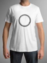 Pánské bílé triko se symbolem těla vědomí – kruh